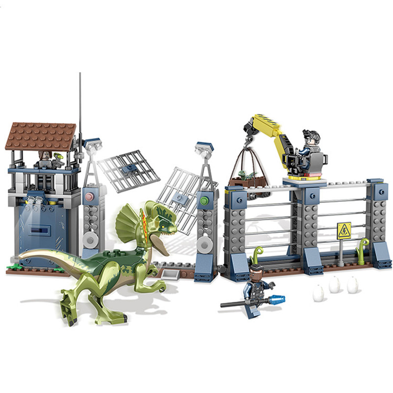 Jurassic World Park Dilophosaurus Outpost Attack Building Blocks Kit Bricks Sets Classic Movie Model Kids Toys Compatible Legoe mini jurassic world park fossil triceratops raptor skeleton building blocks sets bricks kids model kids creator toys marvel city