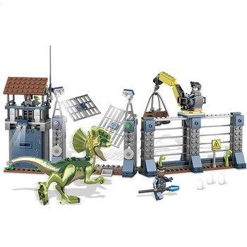 Jurassic World Park Dilophosaurus avant-poste attaque blocs de construction Kit briques classique film modèle enfants jouets compatibles Legoings