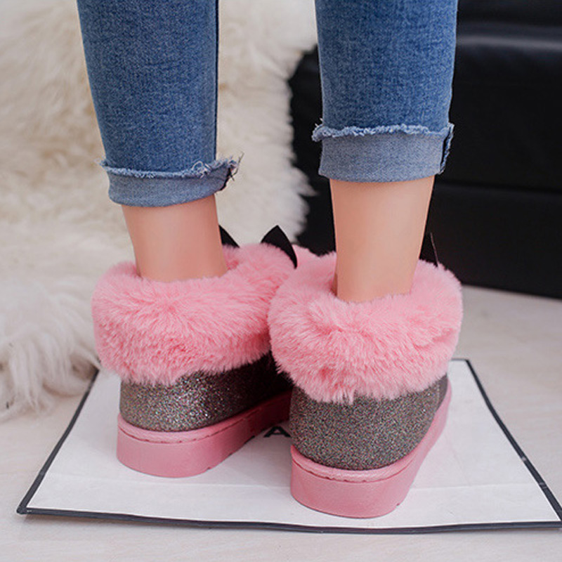 Female Venonat rabbit ear lovely boots waterproof and velvet with thick warm  cotton shoes 2018 New Fashion Winter Women s boots-in Ankle Boots from  Shoes on ... ac4e7e219075