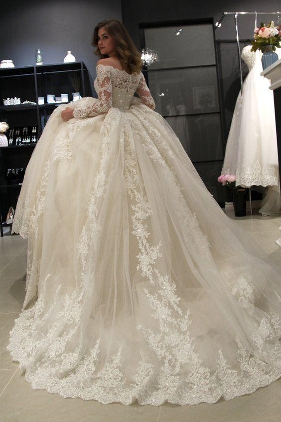 Image 2 - Novo lindo vestido de baile vestidos de casamento vestido de  baile do vintage laço vestido de casamento manga longa barco pescoço  robe de marieeVestidos de Noiva