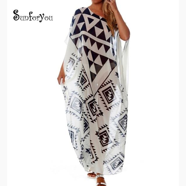 62bf1e6e46f Plus size Beach Cover up Chiffon Dress Saida De Praia Beach Kaftan Robe de  Plage Bikini