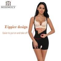 446c5b8f6659 Miss Moly Women S Underbust Strap Zipper Seamless Traceless Shaper Full  Slimming Bodysuit Butt Lifter Black