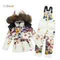 Winter Baby Girl Brand Clothing Sets 100% Natural Fur Print Flower Hooded Coat + Overalls Jumpsuit Pants Snow Children Suit