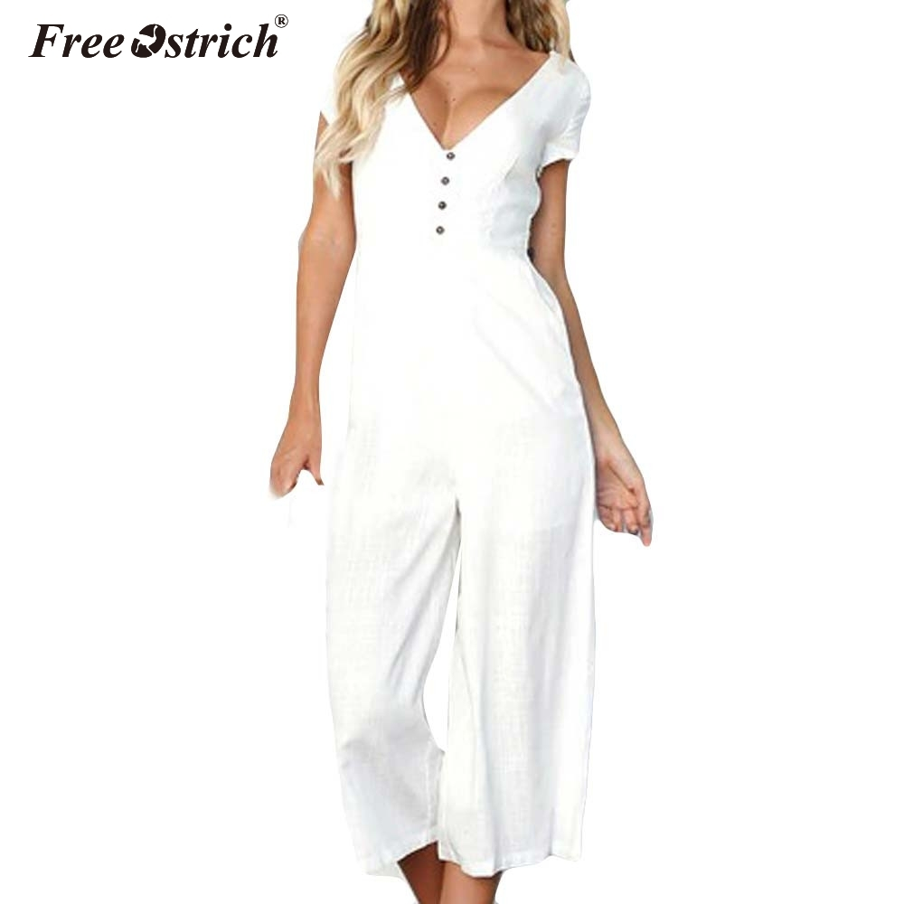 Free Ostrich Wide Leg Pants Long Playsuit 2018 Casual Button Female Short Sleeve Summer Bodysuits Sexy V Neck Women Jumpsuit N30