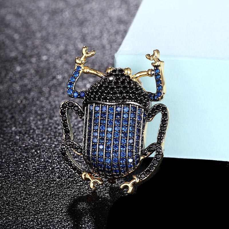 Zlxgirl Perhiasan Pengantin Biru Zirkon Kumbang Bentuk Karton Jilbab Pin untuk Wanita Tembaga Jilbab Pin Aksesori Fashion Bros Liontin