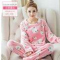 Mulheres Coral Fleece Pijama Sleepwear Homewear quente Plus Size Mulheres Pijamas de Flanela Pijamas Nighties Pijama de Flanela Doce 272