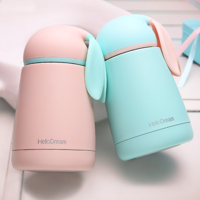 Wholesale Women Candy Color Thermos Stainless Steel Vacuum Flasks Thermoses Travel Mug School thermocup Water Bottle