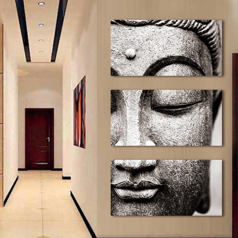 HTB1SMHgov6H8KJjSspmq6z2WXXau Canvas painting Wall Art pictures Gray 3 Panel Modern Large Oil Style poster Buddha Wall Print Home Decor for Living Room