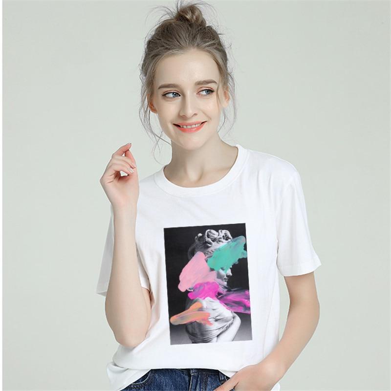 Harajuku Aesthetic Funny Sweet Tshirt Women Cotton 2019 T-Shirt Female Short Sleeve Plus Size White T Shirt Sexy Tumblr Top Tees