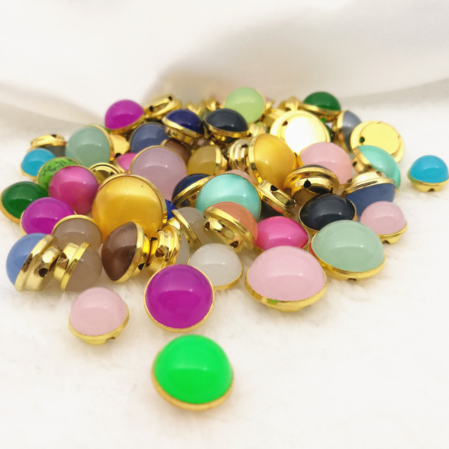 High Quality -50pcs lot 10mm 12mm New Acrylic Round Shape Opal Sew On Bead  With Gold Claw Setting Jewelry Making Findings N1006 d8bd83b95027