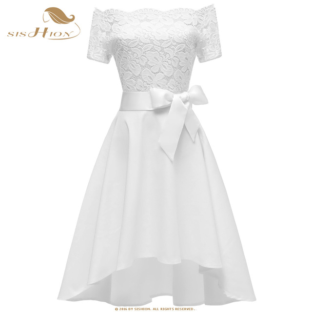 US $24.52 20% OFF|SISHION White Dress Elegant Short Front Long Black Plus  Size Pink Purple Vintage Party Women Lace Dresses VD0699-in Dresses from ...