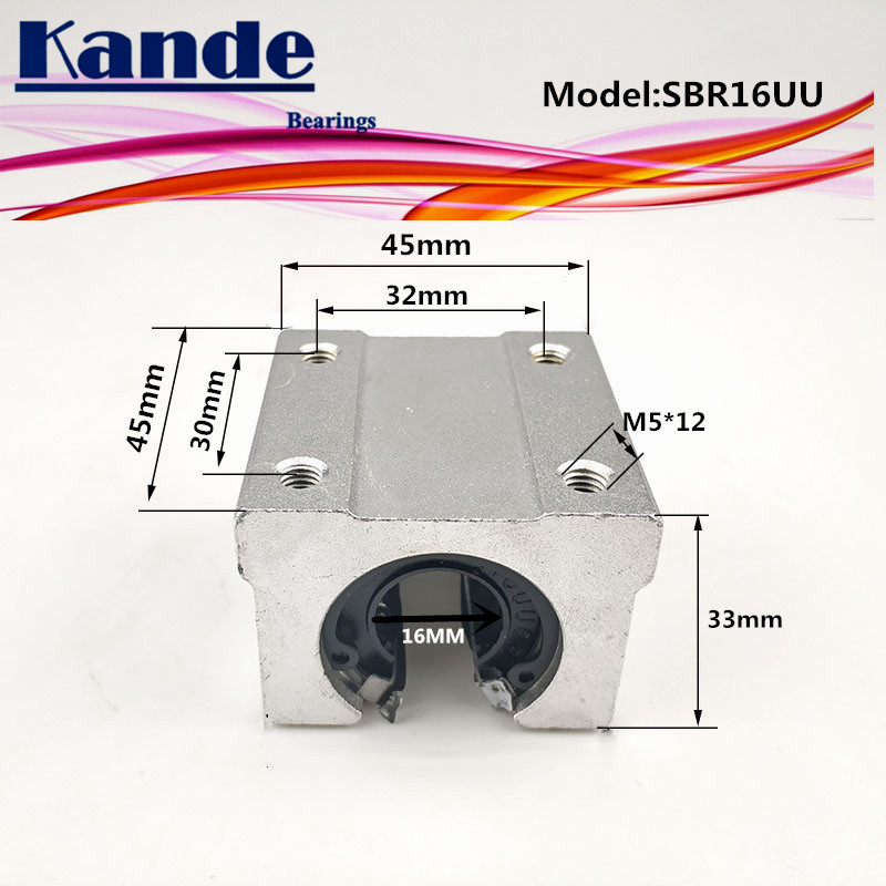 Kande Bearings 4pcs SBR16UU SBR16 UU SBR16 Open Bearing Block CNC Parts Slide For 16mm Linear Guide SBR16 16mm SME16UU SME SBR