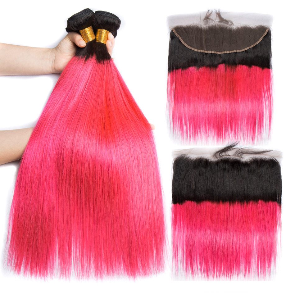 ALIBELE Ombre Straight Hair Bundles with Frontal Colored 1B Pink Peruvian Remy Human Hair 13x4 Lace