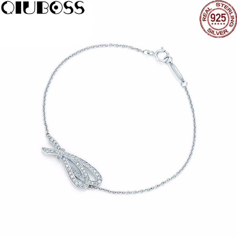 QIUBOSS TIFF 925 Sterling Silver New Bow Charm Zircon Bracelet Charm Temperament Female Exclusive Bracelet DIY Gift Jewelry qiuboss tiff 925 sterling silver brand genuine green heart bracelet charm elegant lady bracelet diy gift jewelry