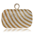 New Arrival Strip Design Women Evening Bags Finger Rings Diamonds Purse Day Clutches Bags One Side Lady Handbags For Wedding