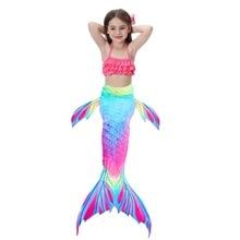 3PCS/Set Kids Girls Mermaid Swimming Tail Swimsuit Summer swim dress cosplay
