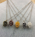 Beautiful Christmas Tree New Year Ornaments 5 different color Cute Pinecone Pendant necklace For Women Fashion Jewelry