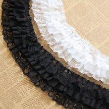 3 metros preto branco fita plissado rendas guarnição flor colar vestuário saia decoração aparar diy costura acessórios