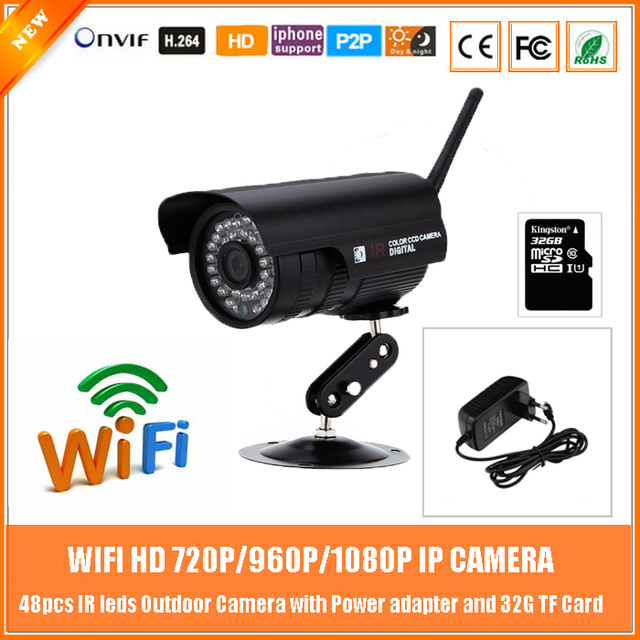 1.0mp Hd 720p Wifi Bullet Ip Camera Outdoor Waterproof Motion Detection With 32g Card Power Metal Black Freeshipping Hot Sale