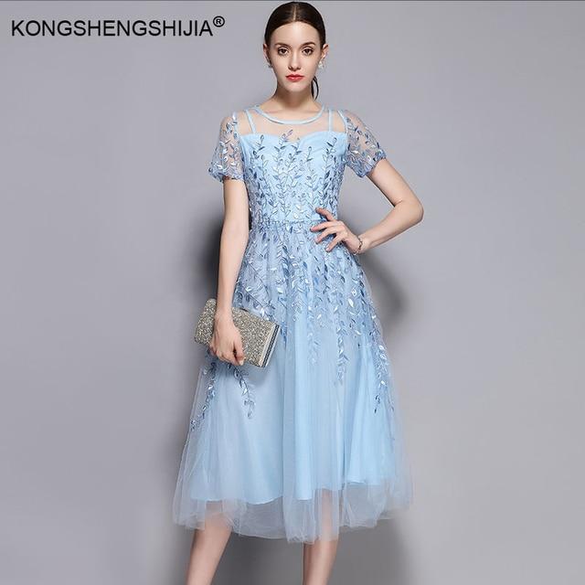 41fe5805bd2 2017 Vintage Designer Organza Embroidery Women Dress Summer short sleeve mid -calf elegant High waist Ladies Dresses 1705810