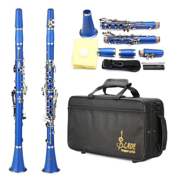 LADE Nickel Plating ABS 17 Key Bb Binocular Clarinet
