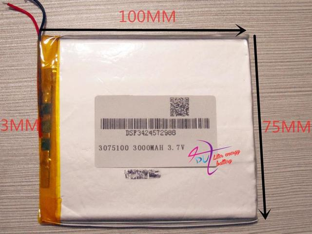 Size 3075100 3.7V 3000mah Lithium Tablet polymer battery For iPad 3 Tablet PCs PDA Digital Products