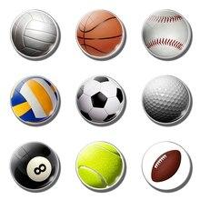 Купить с кэшбэком Football decorative refrigerator magnets movement Soccer basketball tennis ball 30MM fridge magnet for kids message board
