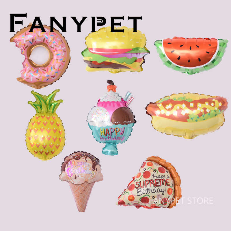 10PC helado forma de hamburguesa globos de papel de aluminio Feliz cumpleaños suministros de decoración de globos inflables niños juguetes clásico de regalos
