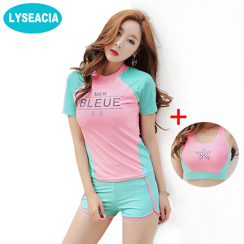 LYSEACIA Sexy Swimsuit Women Sports Bra T-shirt Swimming Shorts Three Piece Swimwear for Girls Summer Women's Beachwear M-XXL