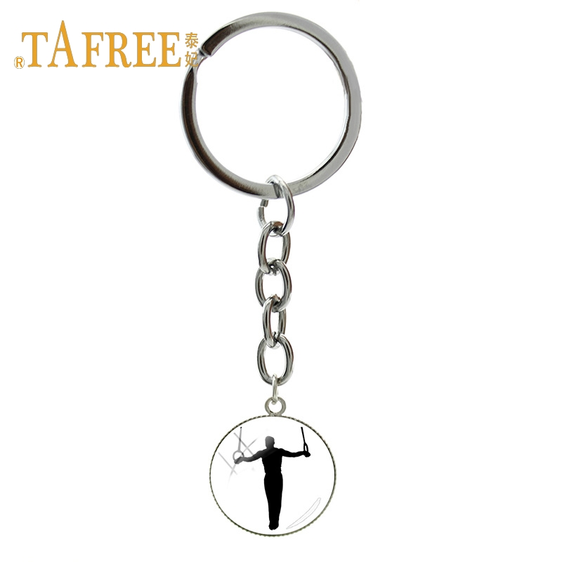 TAFREE Fashion Art Picture Gymnastics Key Chains Program Of Gymnastic Competition Consists KeyRing For Women Gift Jewelry GY215