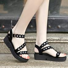 Size 35-40 Women's Sandals 2017 Summer New In Open End Fish Head Fashion Platform High Heels Wedge Sandals shoes women's shoes