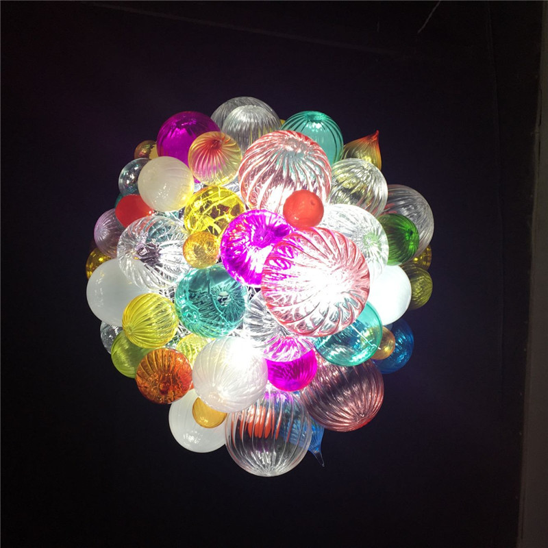Colorful Small Balls Murano Glass Art Pendant Lighting Colorful Blown Glass Ceiling Lights