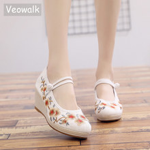 Veowalk Chinese Embroidery Women Canvas Wedge High Heels, Mary Jane Platform Pumps for Elegant Ladies Comfort Embroidered Shoes