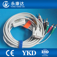 Schiller AT 1 910 920 930 One piece 10 lead ECG EKG Cable With AHA Banana 4.0 EKG Leadwires, Free Shipping