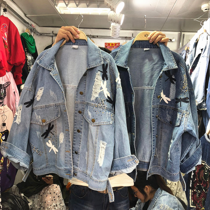 2018 New Autumn Women's Holes Jeans Jacket Female Casual Dragonfly Patch Loose Denim Coat All-match Long Sleeve Outwear 3