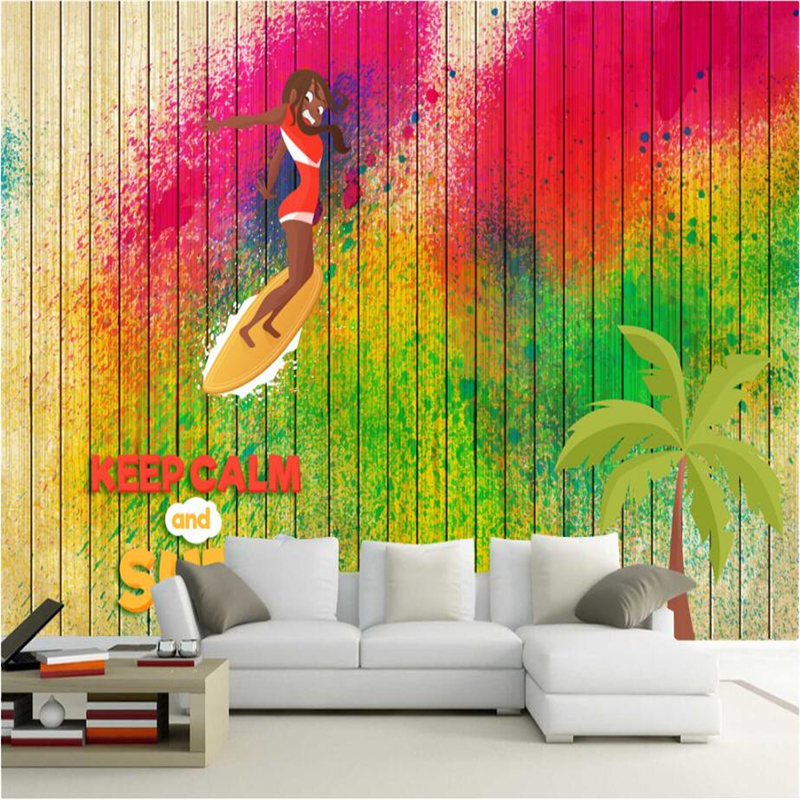 Photo Wall Mural Surfing Beauty Watercolor Boys Room Wallpapers Wallpaper Abstract Tv Background Study Kitchen