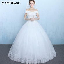 VAMOLASC Crystal Boat Neck Lace Appliques Ball Gown Wedding Dresses Off The Shoulder Sequined Backless Bridal Gowns