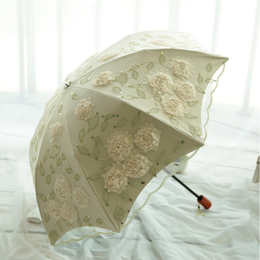 New Classic Flower Umbrella Rain Women Vintage Female Lace Umbrellas Elegant Embroidery umbrella creative wedding