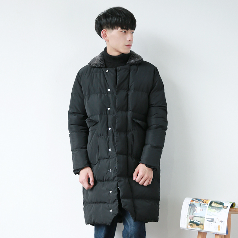 Japanese black winter long Mianfu Mens lamb wool Lapel thickening loose warm coat jacket