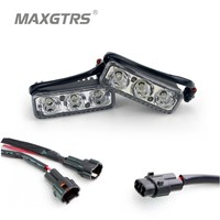 2xHigh Power 6 Led 9W Universal Waterproof DRL Metal Shell Auto Lamp White With Yellow Turn