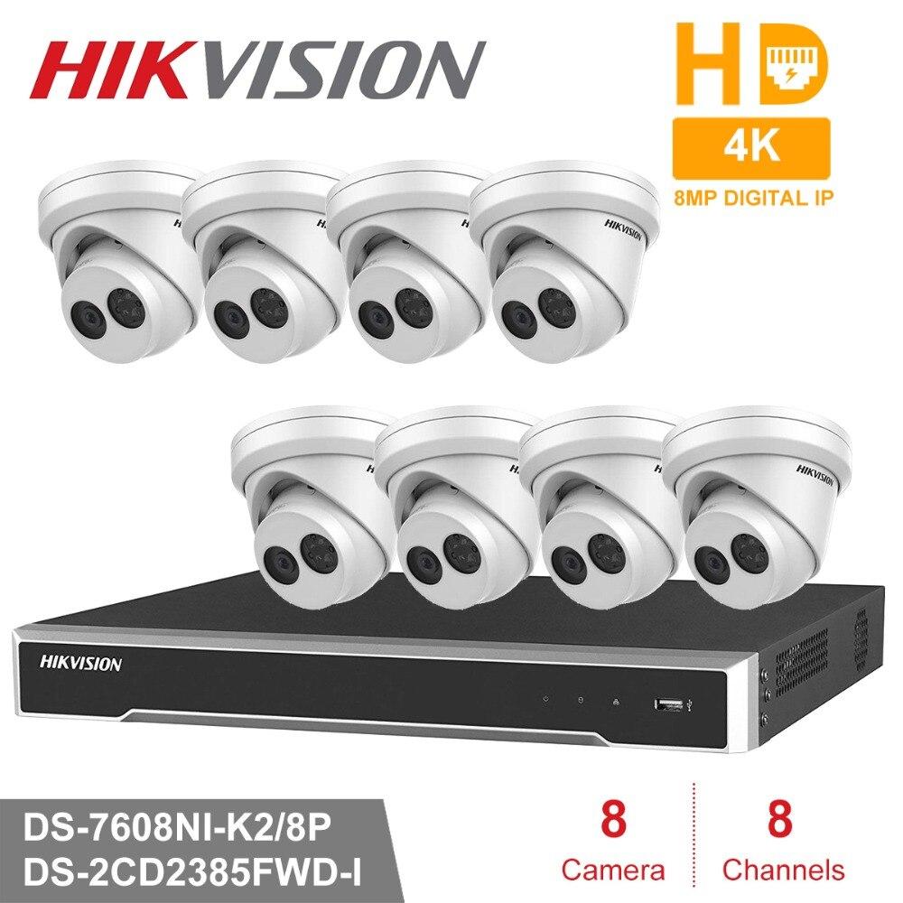 Hik 8 pièces 8MP DS-2CD2385FWD-I et 8CH HD POE NVR Kit système de sécurité CCTV dôme caméra IP extérieure IR Vision nocturne ensemble de Surveillance