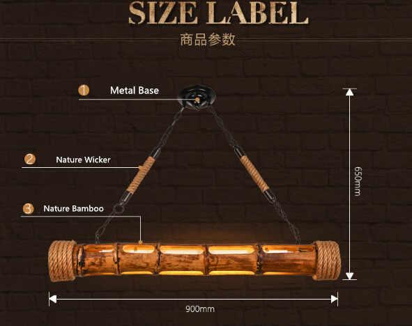 90 см натуральный Плетеный бамбуковый скандинавский Ретро стиль лофт светодиодный подвесной светильник креативная Выгравированная Подвесная лампа Lamparas Colgantes
