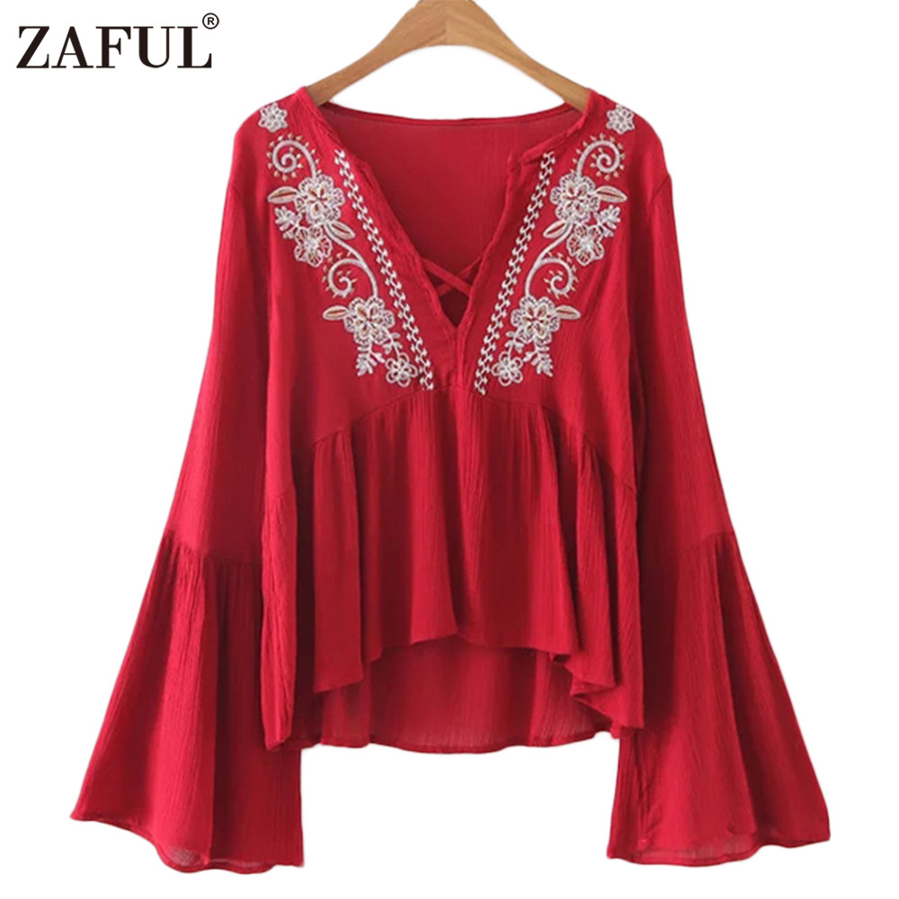 ZAFUL 2017 Women Embroidery Blouse Boho Ethnic Vintage