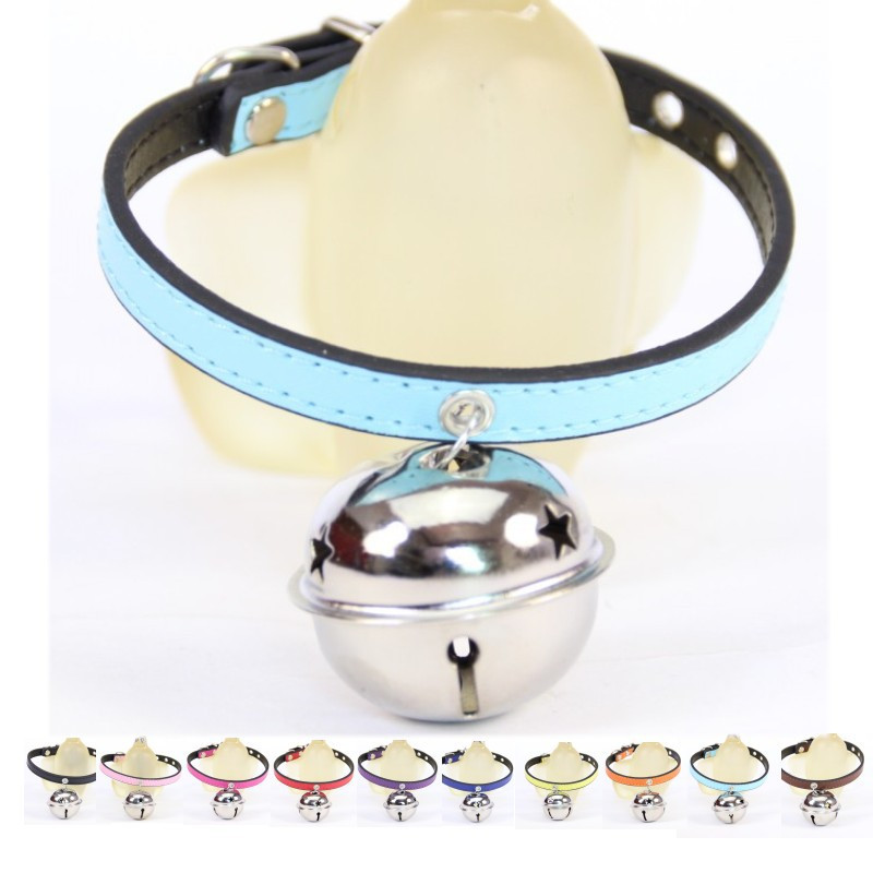 Hot Sales High Quality 10 Colors Available PU Leather Sweet Dog Collar with Big Star Bell Pet Cat Collar Dog Adjustable Collars