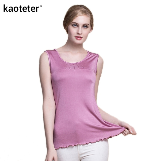 09fccda4cad7d6 100% Pure Silk Women s Tank Tops Women Sleeveless Vest Blusa Femme Casual  Blouse Feminina Blouses Ladies Shirts Female Woman