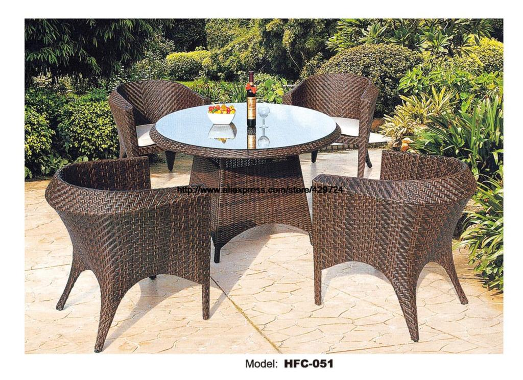 Small Round Outdoor Garden Table Chair Set Holiday Beach Swing Pool Garden Rattan Furniture 80cm