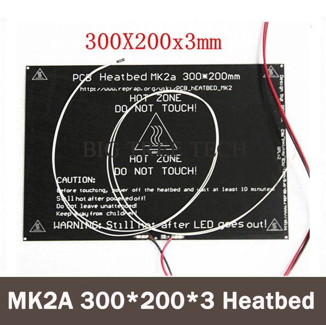 Bigger! 2015 MK2A 300*200*3.0mm RepRap RAMPS 1.4 PCB Aluminum Heatbed + LED Resistor + Cable + Thermistors for 3D Printer MK2B