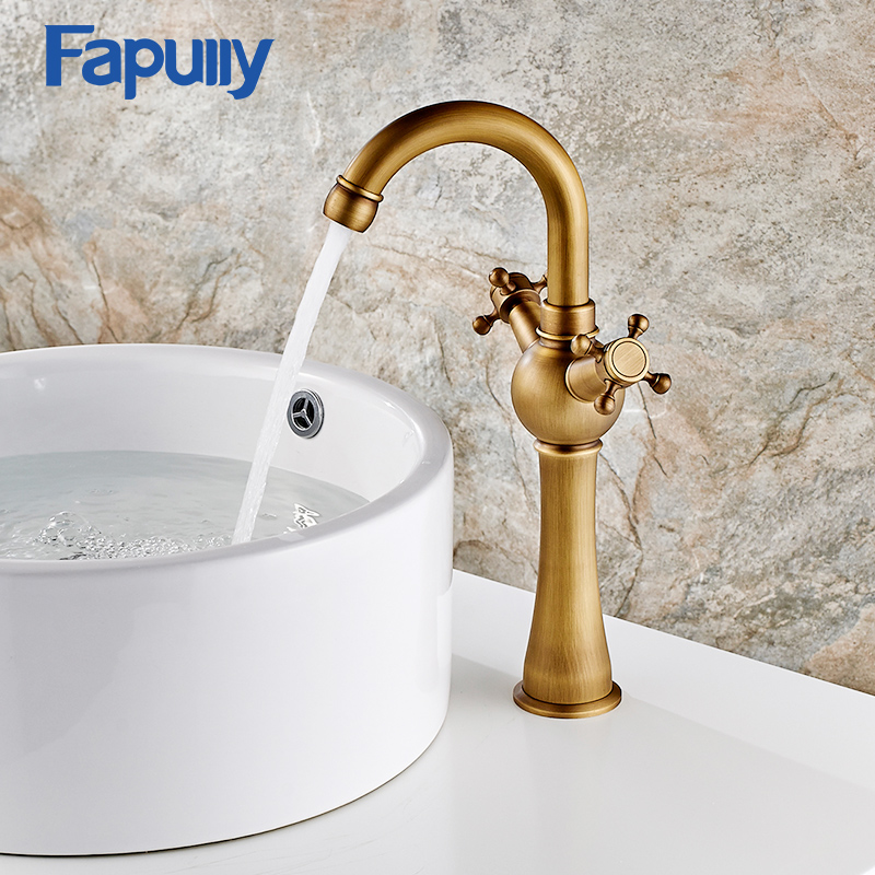 Fapully Antique Bathroom Faucet Mixer Tap Dual Handle Deck Mounted Sink Basin Mixer Tap