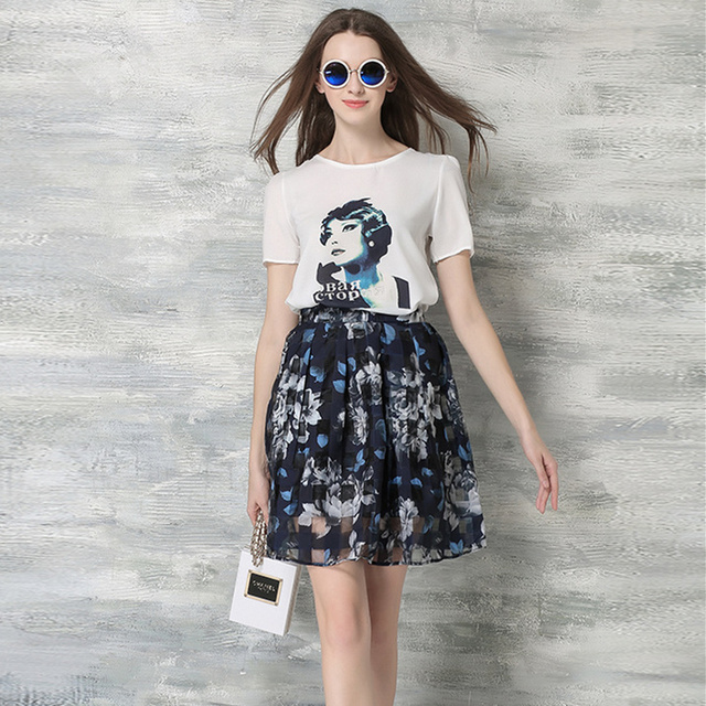 2 Piece Set Women 2016 Summer Print Short Sleeve Chiffon Shirt Floral Tutu Skirt Organza Two Piece Dress conjunto feminino 4143