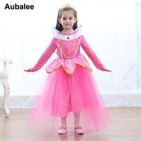 Kids Girls Sleeping Beauty Princess Cosplay Party Dress Children Pink Blue Tutu Dress Aurora Carnival Christmas